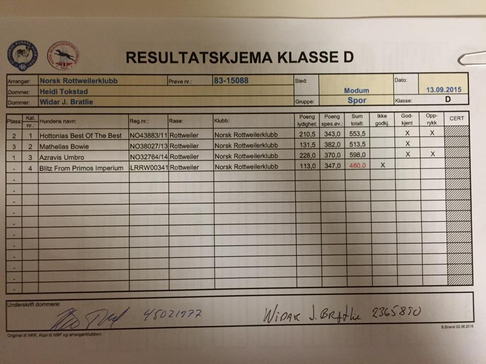 resultater klasse d